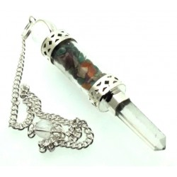 Chakra Gemstone Glass Vial Wand Pendulum
