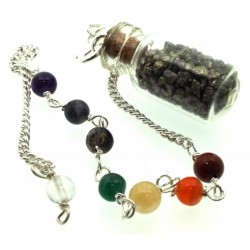Pyrite Glass Bottle Chakra Pendulum