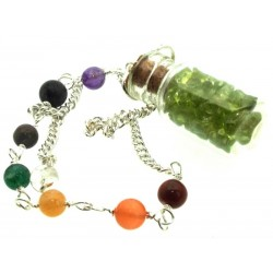 Peridot Glass Bottle Chakra Pendulum