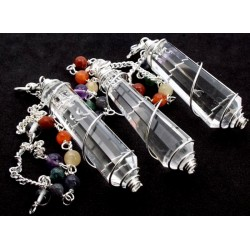 Clear Quartz Double Terminated Spiral Chakra Pendulum