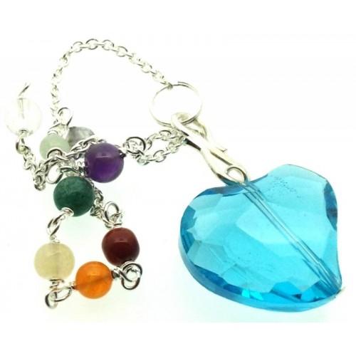 Blue Andara Crystal Heart Charm Chakra Pendulum
