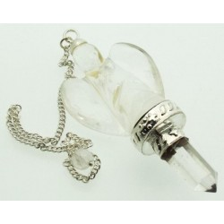 Clear Quartz Gemstone Carved Angel Pendulum
