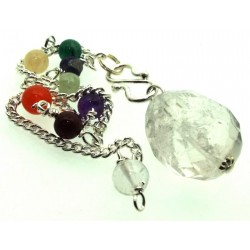 Clear Quartz Faceted Freeform Chakra Pendulum