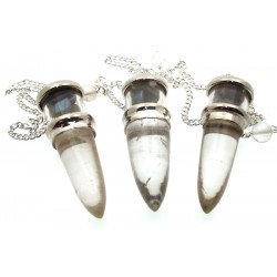 Labradorite and Quartz Gemstone Vial Pendulum
