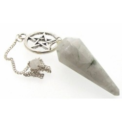 Rainbow Moonstone Pentacle Gemstone Terminated Pendulum