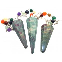 Ruby and Zoisite Gemstone Terminated Chakra Pendulum