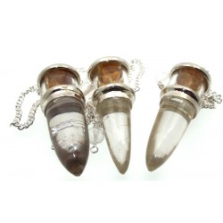 Citrine and Quartz Gemstone Vial Pendulum