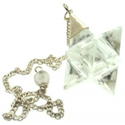Clear Quartz Gemstone Merkaba Pendulum