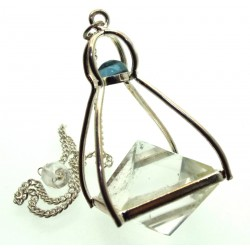 Double Quartz Gemstone Pyramid with Blue Topaz Pendulum