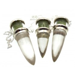 Peridot and Quartz Gemstone Vial Pendulum