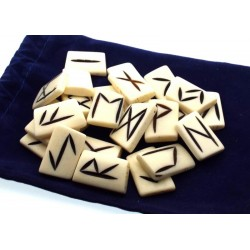 Water Buffalo Bone Carved Elder Futhark Rune Set with Booklet