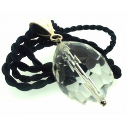 Large Faceted Egg Clear Andara Crystal Pendant