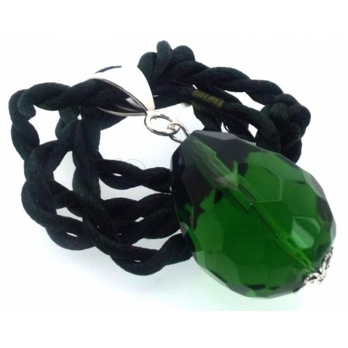 Large Faceted Egg Green Andara Crystal Pendant