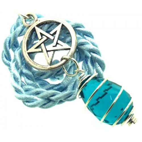 Pentacle Faceted Egg Oceanic Andara Crystal Spiral Pendant