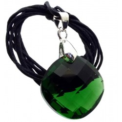 Round Faceted Emerald Green Andara Crystal Pendant