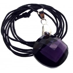 Round Faceted Sovereign Amethyst Andara Crystal Pendant