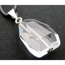 Large Random Faceted Cosmic Ice Andara Crystal Pendant