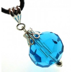 Faceted Sphere Aquamarine Blue Andara Crystal Pendant