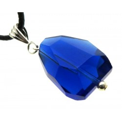 Large Random Faceted Merlin Blue Andara Crystal Pendant