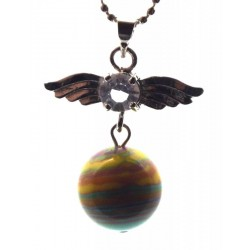 Angel Inspired Rainbow Calsilica Gemstone Pendant