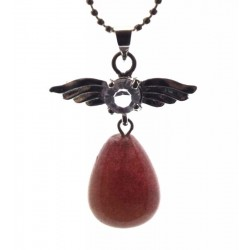 Angel Inspired Rasberry Quartz Gemstone Pendant