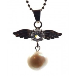 Angel Inspired White Freshwater Pearl Gemstone Pendant