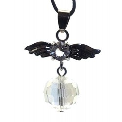 Guardian Angel Wing Aurora Borealis Quartz Crystal Pendant