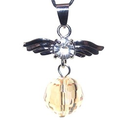 Guardian Angel Wing Champagne Hue Crystal Pendant