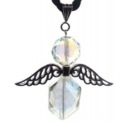 Large Guardian Angel Wing Aurora Borealis Quartz Crystal Pendant