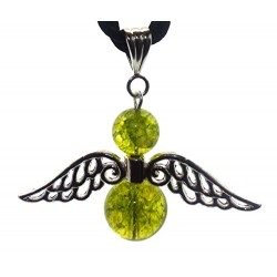 Large Guardian Angel Wing Green Crystal Pendant