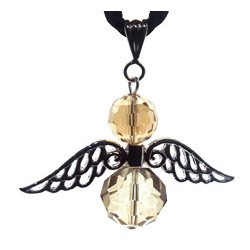 Large Guardian Angel Wing Smokey Crystal Pendant