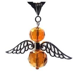 Large Guardian Angel Wing Orange Crystal Pendant