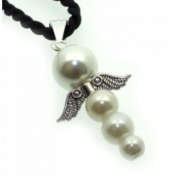 Guardian Angel White Glass Pearl Pendant