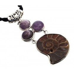 Ammonite Fossil and Amethyst Gemstone Pendant 01