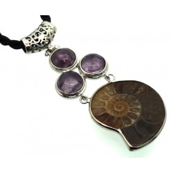 Ammonite Fossil and Amethyst Gemstone Pendant 02