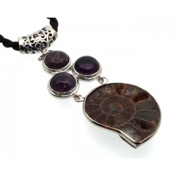 Ammonite Fossil and Amethyst Gemstone Pendant 03