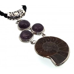 Ammonite Fossil and Amethyst Gemstone Pendant 05