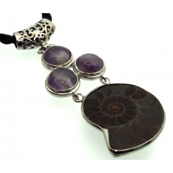 Ammonite Fossil and Amethyst Gemstone Pendant 07