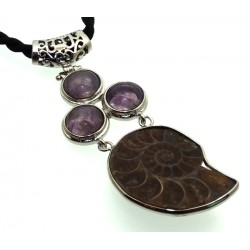 Ammonite Fossil and Amethyst Gemstone Pendant 08
