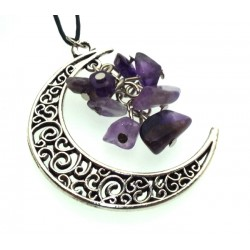 Silver Plated Crescent Moon Amethyst Chip Pendant