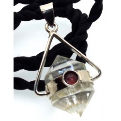 Vogel Cut Quartz Gemstone and Pink Tourmaline Pendant