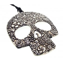 Large Antique Style Candy Skull Pendant