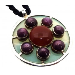 Star Ruby and Chalcedony Sterling Silver Pendant