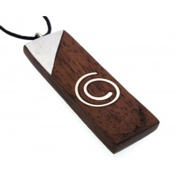 Wood and Metal Spiral Design Long Pendant