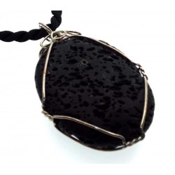 Wired Oval Volcanic Lava Rock Pendant