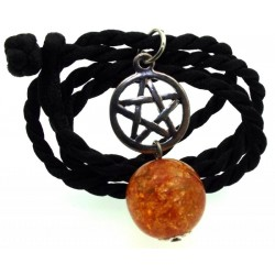 16mm Orange Coloured Crackle Quartz Sphere Pentacle Pendant