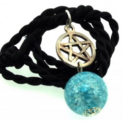 16mm Blue Coloured Crackle Quartz Sphere Pentacle Pendant