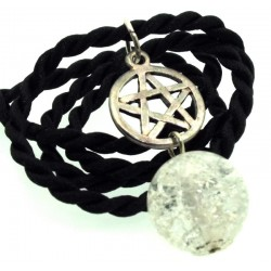16mm Clear Coloured Crackle Quartz Sphere Pentacle Pendant