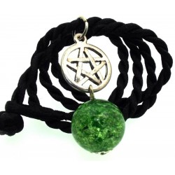 16mm Green Coloured Crackle Quartz Sphere Pentacle Pendant