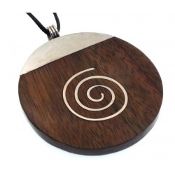 Wood and Metal Spiral Design Round Pendant
